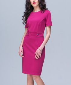 Another great find on #zulily! Fuchsia Button-Waist Sheath Dress #zulilyfinds…also in terra-cotta and black