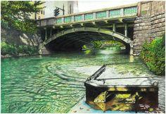 色鉛筆画家の林亮太の「陽だまりの一時停止 中野区上鷺宮」の画像