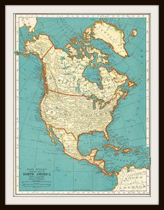 Antique Map - NORTH AMERICA 1939 Map Page by KnickofTime