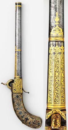 Caucasian (Tbilisi, Georgia, or Dagestan) miquelet pistol, ca. 1830 to 1850, steel, wood, silver, niello, caliber, .56 in. (14.22 mm), 2 lb. 7 oz. (1106 g). Length, 21 in. (53.34 cm), Met Museum.