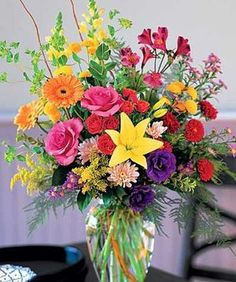 The Dazzler bright summery flower arrangement by Sarasota Florist Beneva Flowers #FL