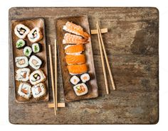 Japanese food Sushi Seafood by LiliGraphie on @creativemarket