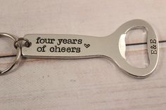 Personalized, FOURTH Anniversary Bottle Opener Keychain