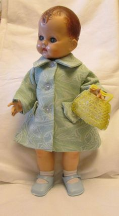"Pretty vintage bag blue coat fit 16"" pedigree bnd palitoy vinyl doll"