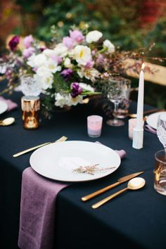 An al fresco dinner party to celebrate a wedding photographer's 30th birthday. The theme of the party was moody California Winter and included dark hues and a gold cake.