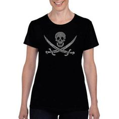 Los Angeles Pop Art Women's lyrics TO A Legendary Pirate Song T-Shirt, Size: XL, Black