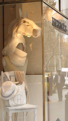 Melbourne spring windows  Paper horse sculptures and masks by Sydney artist Anna-Wili Highfield