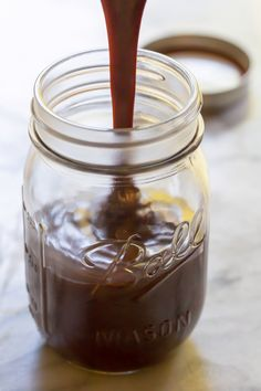 An easy wonder that takes ice cream and cakes to the next level! From Sommer Collier of A Spicy Perspective. Hot Fudge - Hot Fudge Sauce - chocolate chips and sweetened condensed milk - microwave Homemade Hot Fudge, Homemade Ice Cream, Homemade Chocolate, Delicious Chocolate, Dessert Sauces, Köstliche Desserts, Delicious Desserts, Dessert Recipes, Impressive Desserts