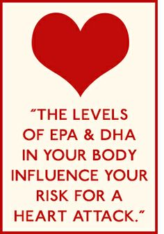 The levels of EPA & DHA Omega-3 fatty acids in your body influence your risk for a heart attack. Click to learn more! #Omega3 #fishoil #benefits #healthylife
