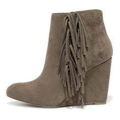 Madden Girl Pave Taupe Suede Fringe Wedge Booties ($69) ❤ liked on Polyvore featuring shoes, boots, ankle booties, ankle boots, wedges, grey, gray wedge booties, gray ankle boots, taupe ankle boots and grey wedge booties