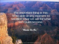 the important thing is this: to be able at any moment to sacrifice what we are for what we could become.