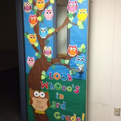 best 25 kindergarten classroom door ideas on classroom door school door Owl Classroom Door, Classroom Door Displays, School Displays, Classroom Themes, Preschool Door, Kindergarten Classroom, Owl Door Decorations, School Doors, First Grade Classroom