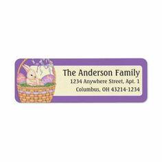 Easter Bunny in Easter Basket Address Labels