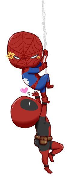 Resultado de imagen para spiderman y deadpool chibi