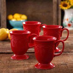 The Pioneer Woman Cowgirl Lace Mug Set, Set of 4 - Walmart.com