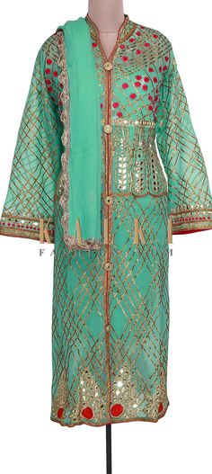 Buy Online from the link below. We ship worldwide (Free Shipping over US$100). Product SKU - 301022. Product Link - http://www.kalkifashion.com/sea-blue-semi-stitched-suit-adorn-in-resham-and-gotta-lace-only-on-kalki.html