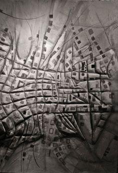 __Ciudad Vector__, Leonardo Montelongo Ortega y Benjamín Ortega, cartón, madera, yeso y pintura, 2012,122 x 244 cm.