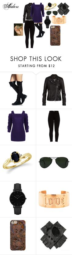 """Aidens Hospital Outfit"" by boo9boo8 ❤ liked on Polyvore featuring SET, Jewelonfire, Ray-Ban, CLUSE, Jennifer Fisher and Black"