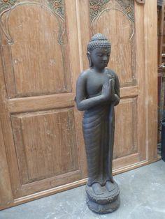 Standing Buddha Bali Garden Statue Cement Casting Bronze Antique Finish H150cm