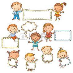Los niños pequeños dibujos animados con signos en blanco, no degradados