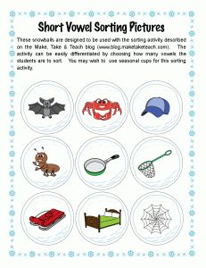 25 FREE short vowel pictures. Great for use during small group instruction.