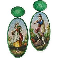 Hemmerle 19th Century Lilliputian Painting-Inspired Earrings