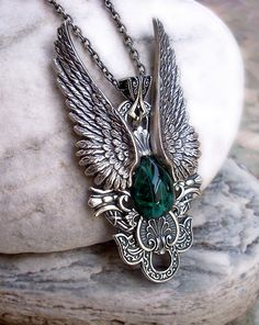 Wings Pendant w Green Glass Cabochon Womens Mens Gothic by Aranwen, €70.00