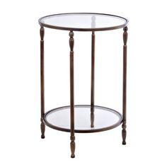 Bronze 2-Tier Glass Side Table | Kirklands Size: 26H in. 18 in. in diameter For sale in store stock: $55.99
