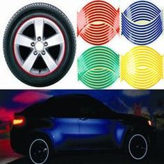 Reflective 16 Strips Car Motorcycle Bicycle Wheel Tire Rim Stickers 2017 Hot!!!