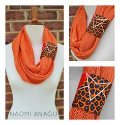 OOAK Orange Hand Dyed Net Mesh Infinity Scarf With by naomianagu
