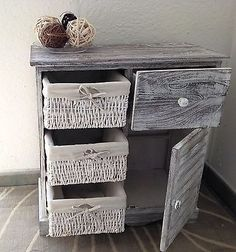 Shabby chic white grey cabinet bedside table kitchen badroom bathroom vintage