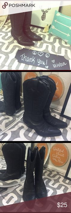 Nine West black cowgirl boots These are sooo cute!!  These are more of show boots but have a heel if you wanted to actually ride in them. Great design on toe, stellar boot! Nine West Shoes Heeled Boots