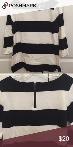 Zipper back striped top worn once Old Navy Tops