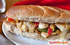 Skinny Chicken Philly Cheese Sub via @SparkPeople