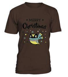 Cute Christmas Owl With Scarf - Merry Christmas T-shirt  Funny Cute T-shirt, Best Cute T-shirt