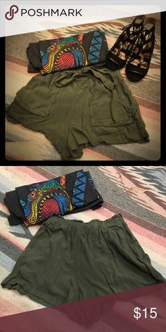 Army green Comfy shorts These shirts are in perfect condition. I only wore them a couple times because unfortunately they're just too small for me. :( they have an elastic band in the waistline and a belt that you can tie into bow. (The shirt in the cover photo is also for sale!) please let me know if you have any questions or would like to see them on ☺️ Xhilaration Shorts