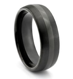 8MM Tungsten Carbide Mens Black _ Wedding Band #3