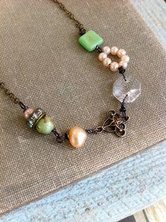 Cameron. bohemian,gemstone,crystal,glass beaded necklace. Tiedupmemories