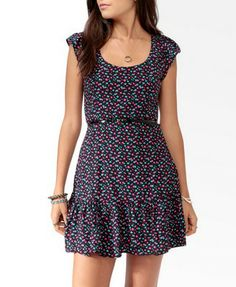 Flounced Abstract Print Dress w/ Belt (Black/Pink). Forever 21. $22.90