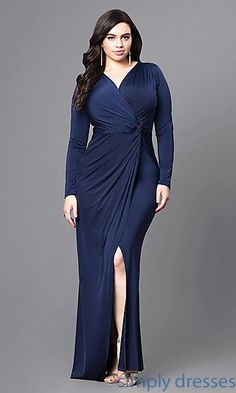 evening gown with sleeves Shop cheap plus-size prom dresses at Simply Dresses. Long faux-wrap long-sleeve formal dresses under $100 with v-necklines and side slits.