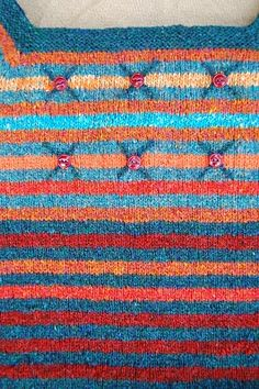 Stripy sweater in the making. Lovely idea to embrodier and add buttons by @Tant Kofta
