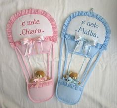 Fiocco NascitaMongolfiera Orsetto Celeste aida | Etsy Baby Nursery Decor, Baby Shower, Etsy, Couches, Album, Amazing, Board, Baby Going Home Outfit, Door Hangings