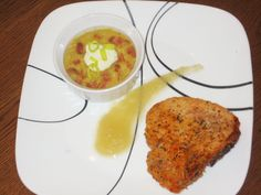 Parmasean crusted pork chop with squash soup