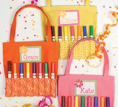 Sew fun! Super cute party favors for kids! We love these marker totes :) #diy #creativitymadesimple