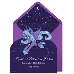 Customizable, free Princess Luna Cutout online invitations. Easy to personalize and send for a My Little Pony birthday party. #punchbowl