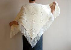 Cream Wedding  Shawl Knit Ivory Wrap Capelet Shrug by bysweetmom, $69.00