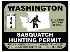 Sasquatch Canada Hunting Permit Bumper Sticker Bigfoot