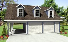 Garage with carport, like the carport to be used as covered play area. Only 1 bay and carport area. Sweet. If wanted storage add windows, otherwise, skip