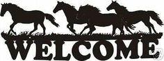 Western Metal Art Horses Welcome Metal Wall Art