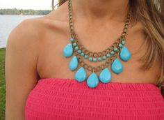 Layered Turquoise Teardrop Necklace on Antique Bronze Chain